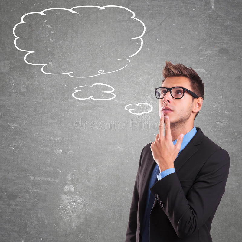 Thinking man with speech bubble royalty free stock photography