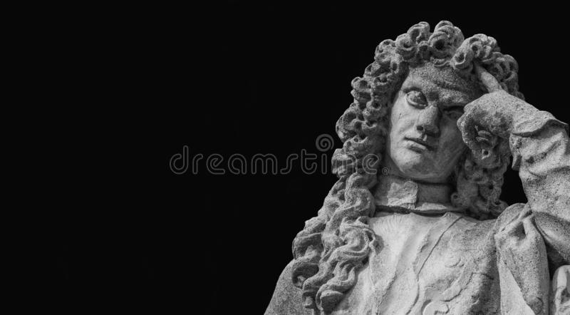 Thinking man statue. Man statue in the act of thinking. Bernardo Nani monument erected in the 18th century in Padua, great venetian scholar Black and White with royalty free stock photography