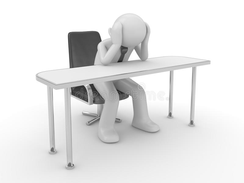 Thinking man at workplace royalty free stock image