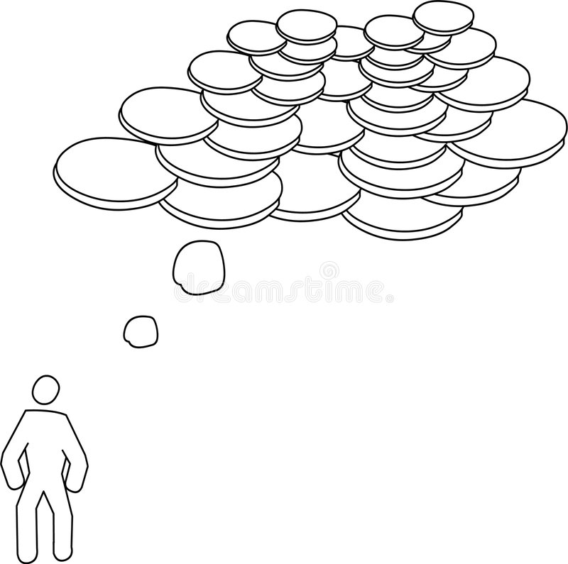 Thinking money vector illustration