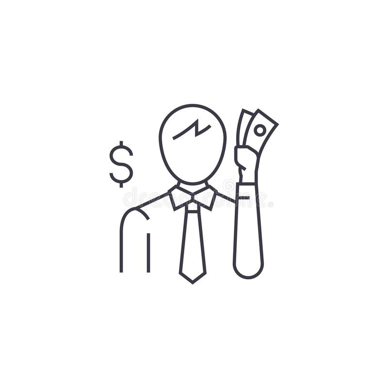 Thinking about money vector line icon, sign, illustration on background, editable strokes stock illustration