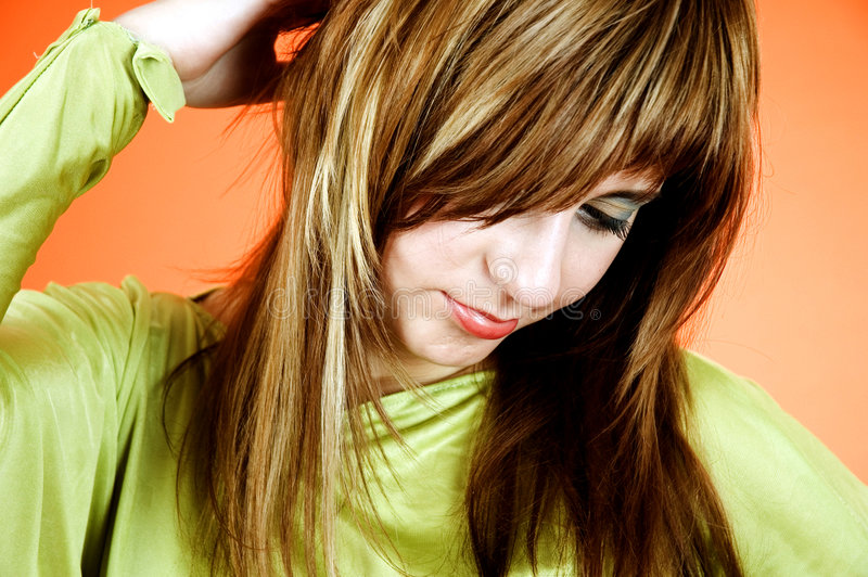 Thinking about my hair stock photography