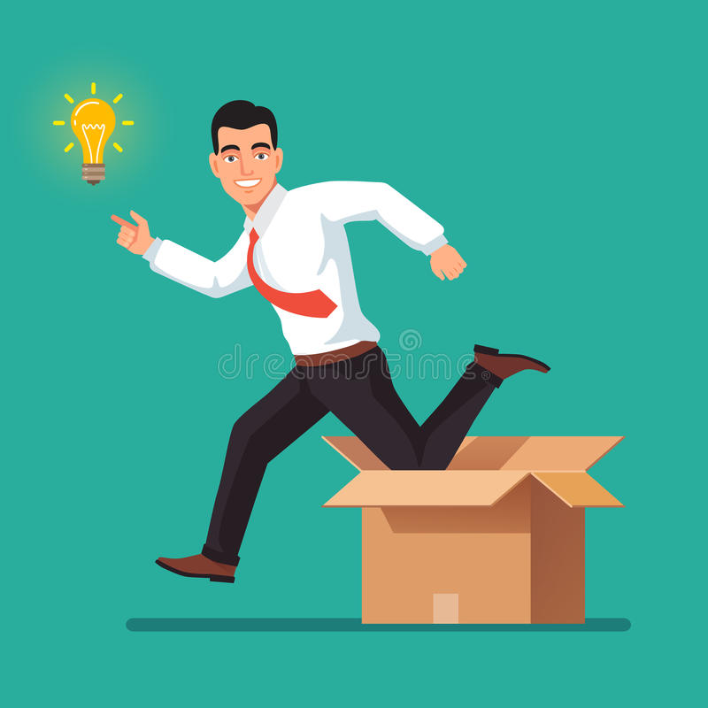 Thinking out of the box concept stock illustration