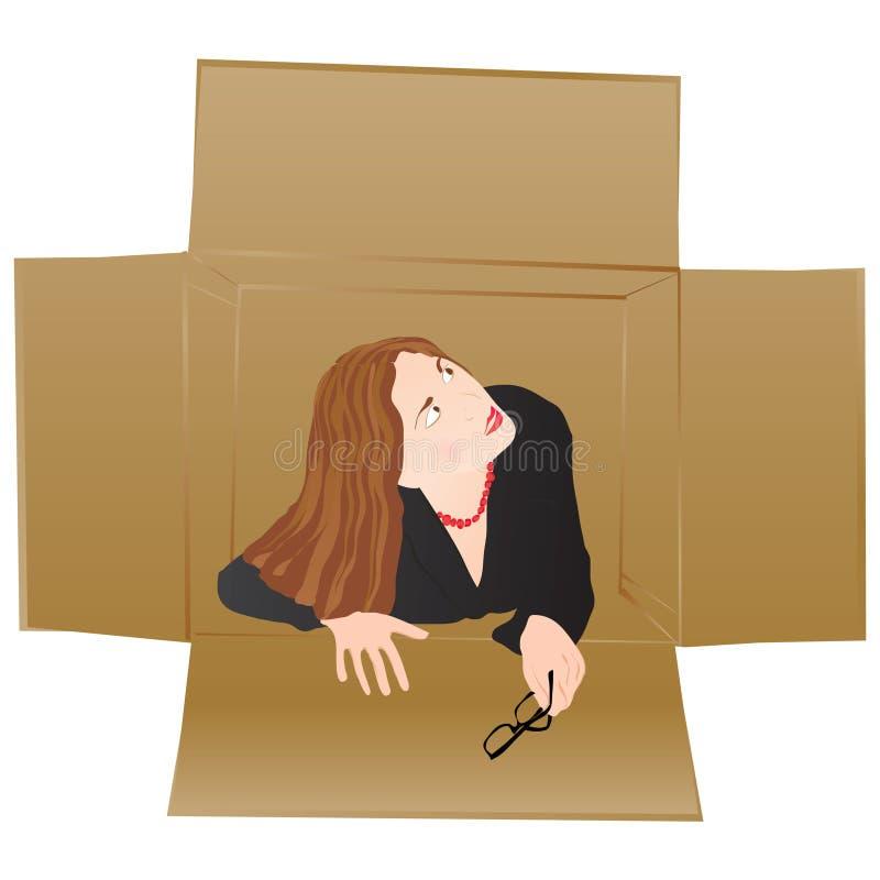 Thinking outside the box stock illustration