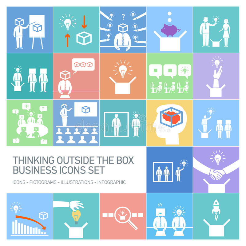 Thinking outside the box business icons set royalty free illustration