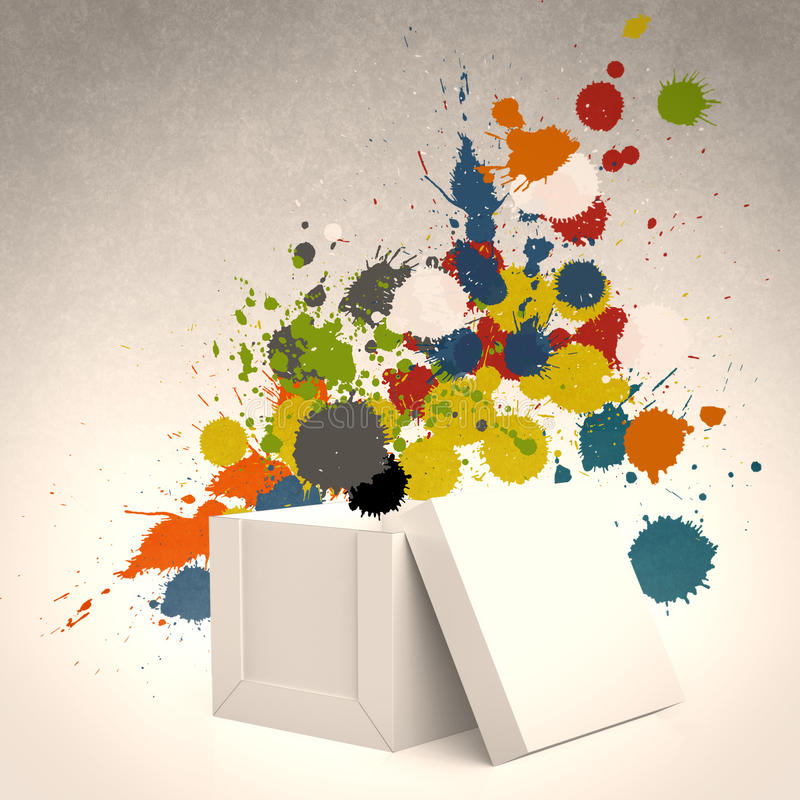 Thinking outside the box and splash colors royalty free illustration