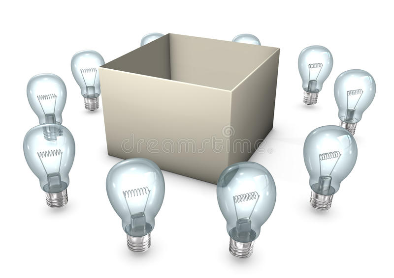 Thinking Outside The Box. A box with ten bulbs on the white background stock illustration