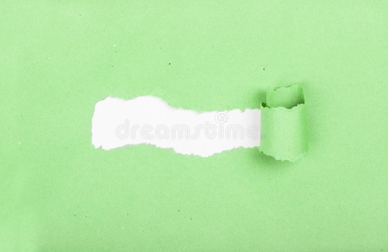 Thinking outside the box. Torn strip of paper. Idea and new innovation. Breaking new ground. Place for text. Discovery. Thinking outside the box. Torn strip of royalty free stock image