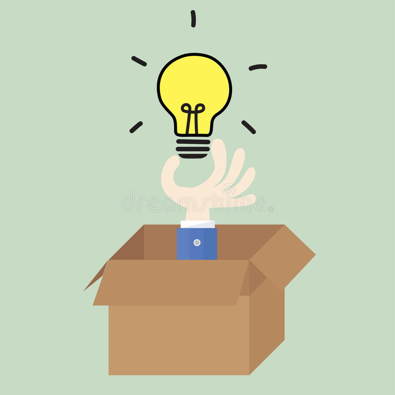 Thinking outside the box stock illustration