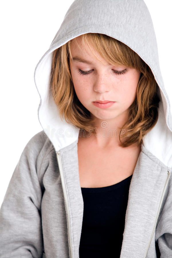 Thinking Over My Sins In Hooded Sweater Royalty Free Stock Photos
