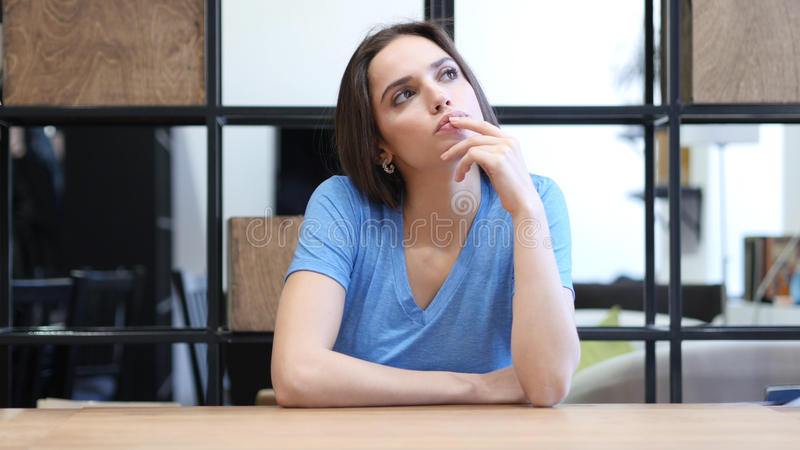 Thinking, Pensive Beautiful Brunette Woman, Indoor royalty free stock images