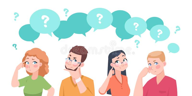 Thinking people group. Anxiety characters, flat crowd in doubt talking and confused, business team and social group. Vector cartoon businessman stressed royalty free illustration