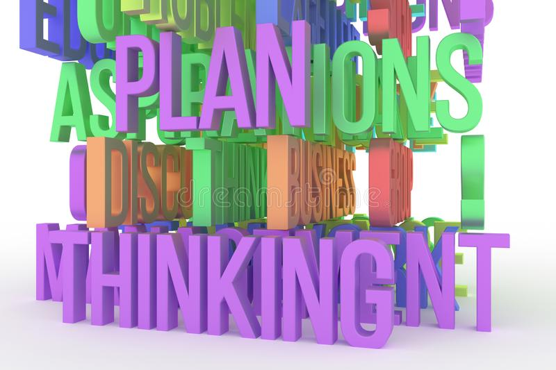 Thinking, Plan, business conceptual colorful 3D rendered words. Message, digital, rendering & positive. Thinking, Plan, business conceptual colorful 3D rendered stock illustration