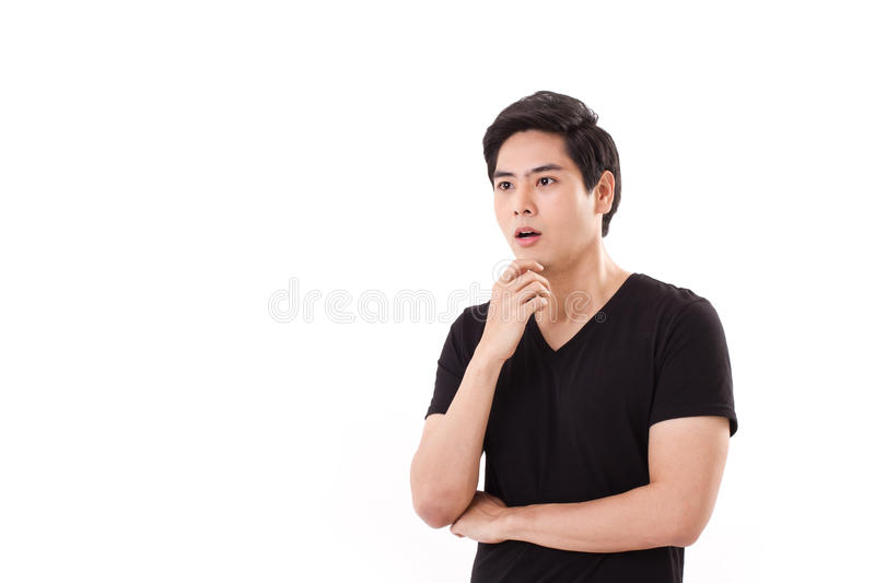 Thinking, planning man with good idea. On white isolated background stock photo