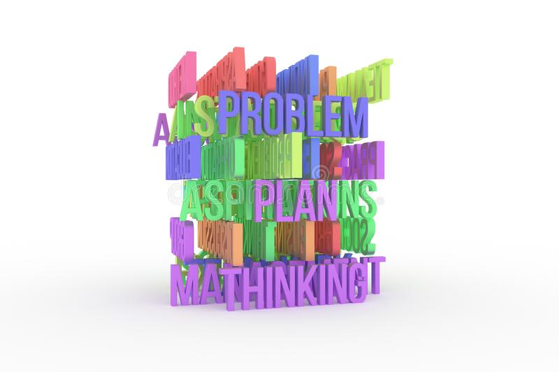 Thinking, Problem, Plan, business conceptual colorful 3D rendered words. Backdrop, wallpaper, typography & design. Thinking, Problem, Plan, business conceptual vector illustration