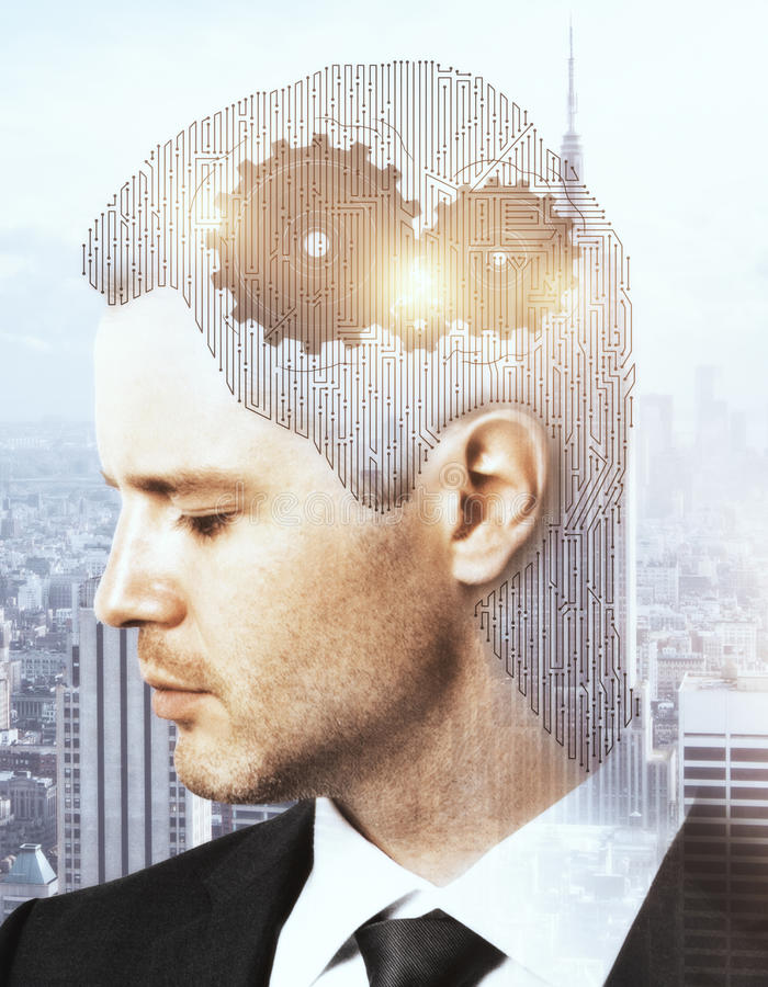 Thinking process concept. Businessman with abstract mesh head and cogwheels on city background. Thinking process concept. Double exposure royalty free stock photos