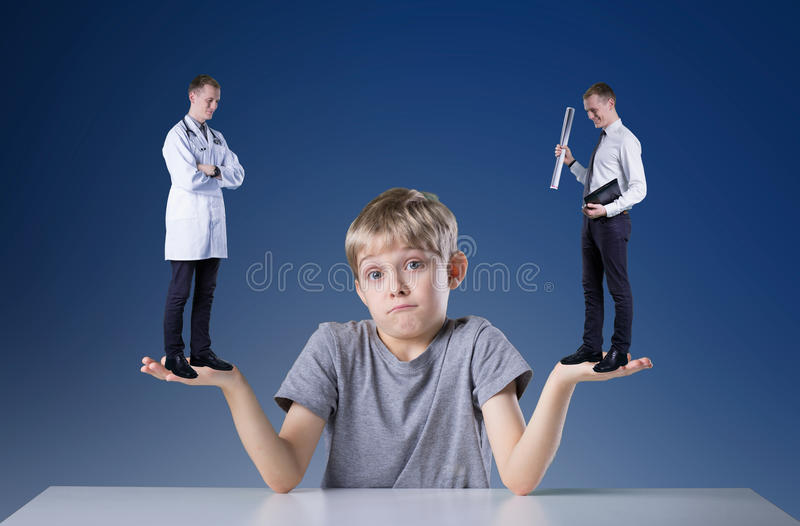 Thinking about profession stock photo