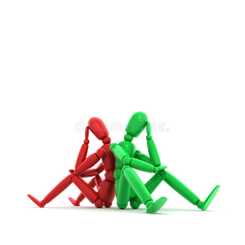 Download Thinking Red and Green stock illustration. Image of figure - 10654086