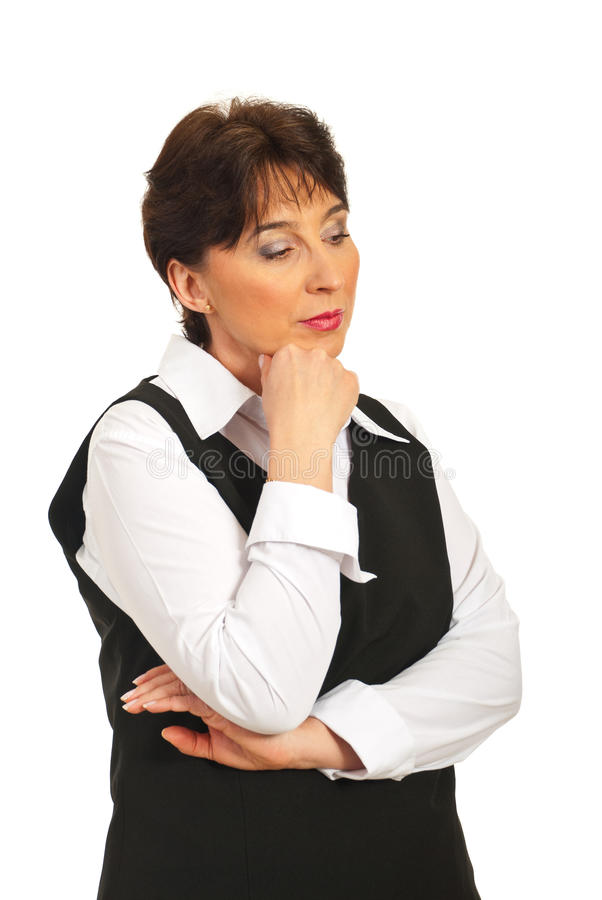Thinking sad mature woman royalty free stock image