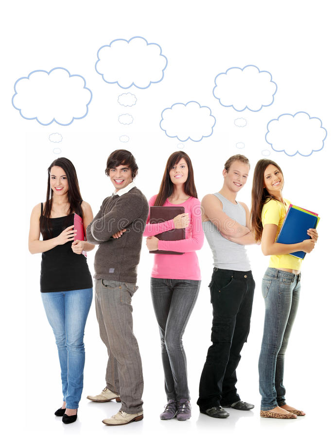 Thinking students with thought bubbles stock photo