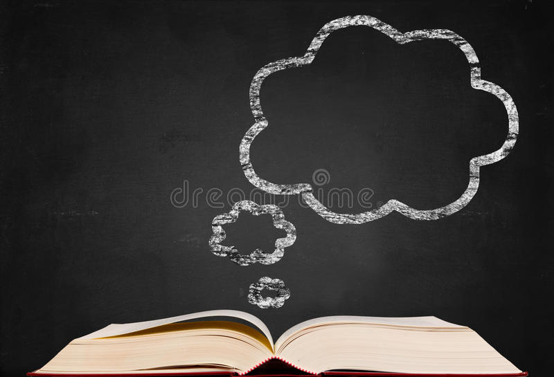 Thinking symbol and text book on blackboard backgr stock image