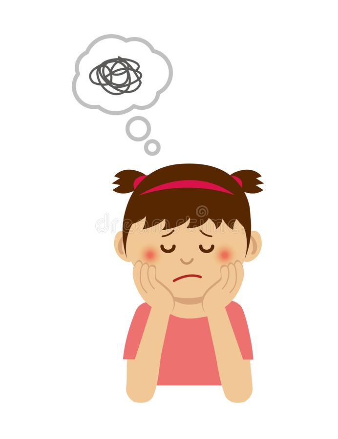 Free Thinking / Troubled / Suffering Girl Illustration Royalty Free Stock Image - 161130616