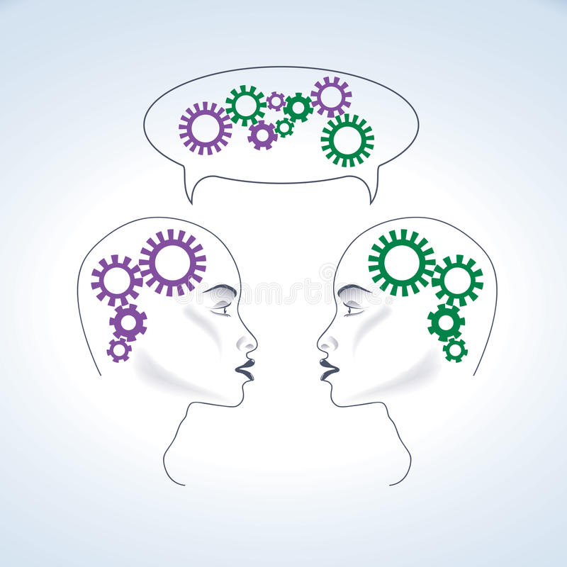 Thinking - Two heads are better than one vector illustration