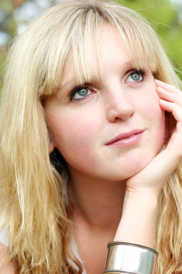 Download Thinking woman stock photo. Image of face, outdoors, pretty - 100596