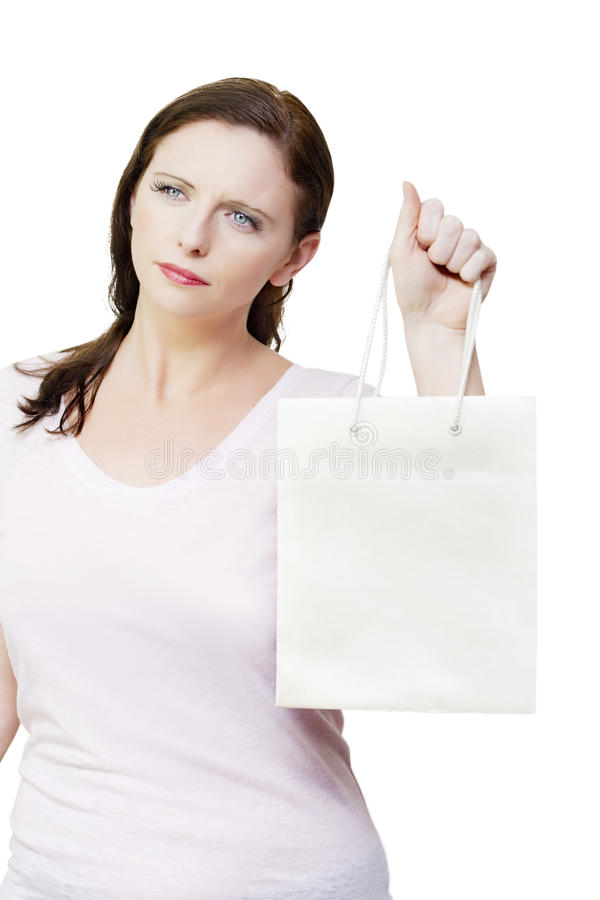 Thinking Woman With Copyspace Retail Shopping Bag Royalty Free Stock Image