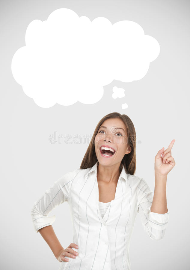 Thinking woman having an idea. Including thought bubble with copy space on grey background royalty free stock images