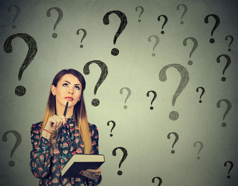 Download Thinking Woman Looking Up At Many Questions Mark Stock Image - Image of doubt, contemplation: 74662737