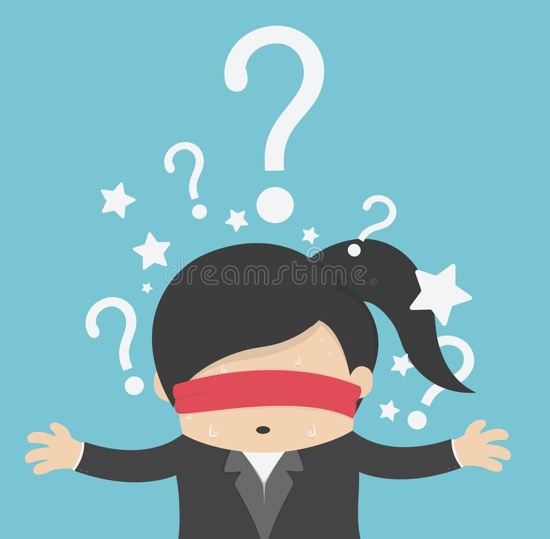 Thinking woman with question mark on background stock illustration