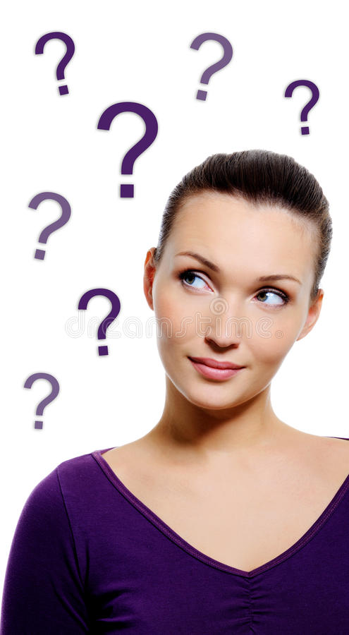 Download Thinking Woman With Question Sign Stock Image - Image: 29120709