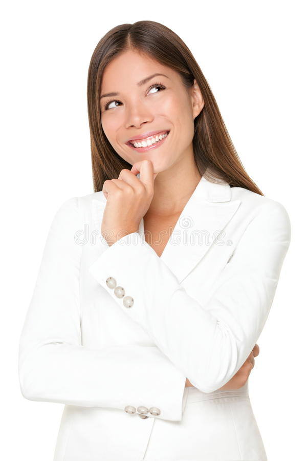 Thinking woman smiling stock images