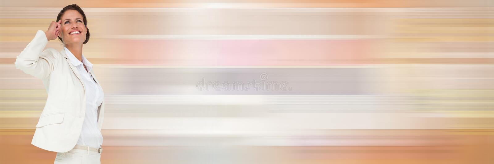 Thinking woman with soft colors transition royalty free stock photo