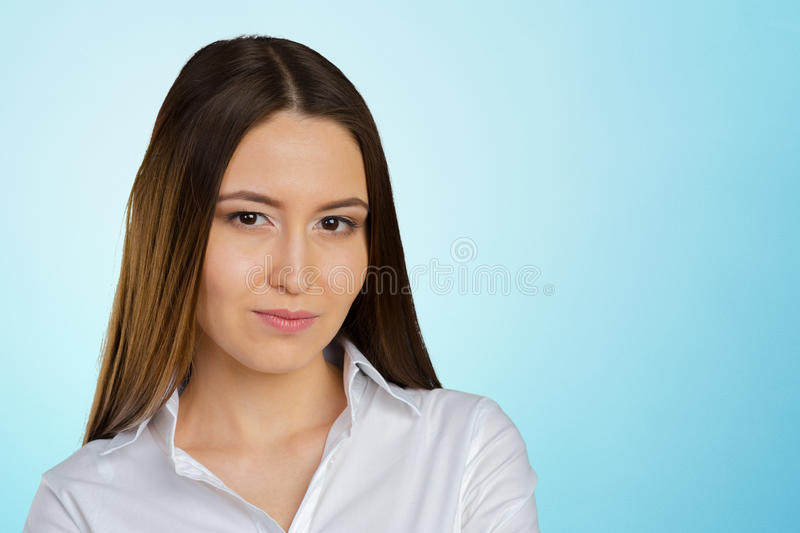 Thinking woman standing stock images