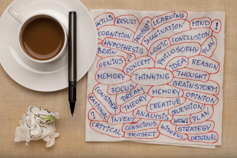 Download Thinking Word Collage On Napkin Stock Photos - Image: 17774193