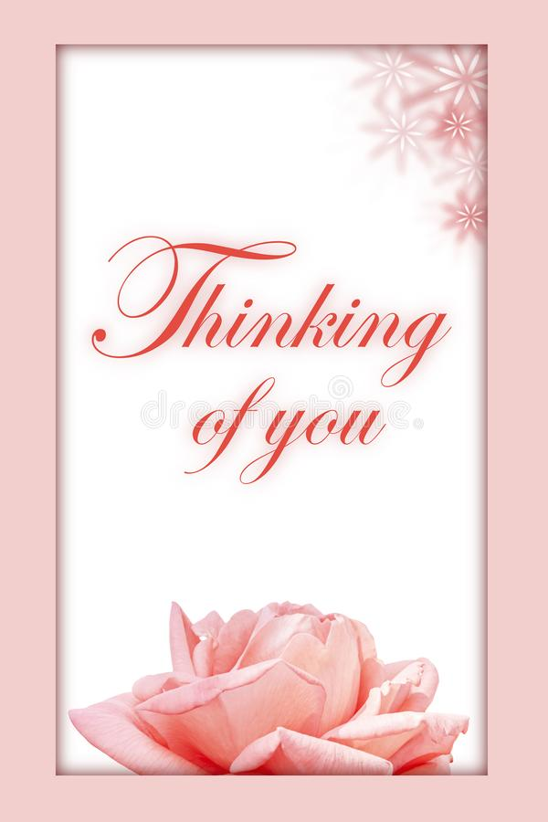 Thinking of you - card. Pink rose. Thinking of you - card. rose stock image