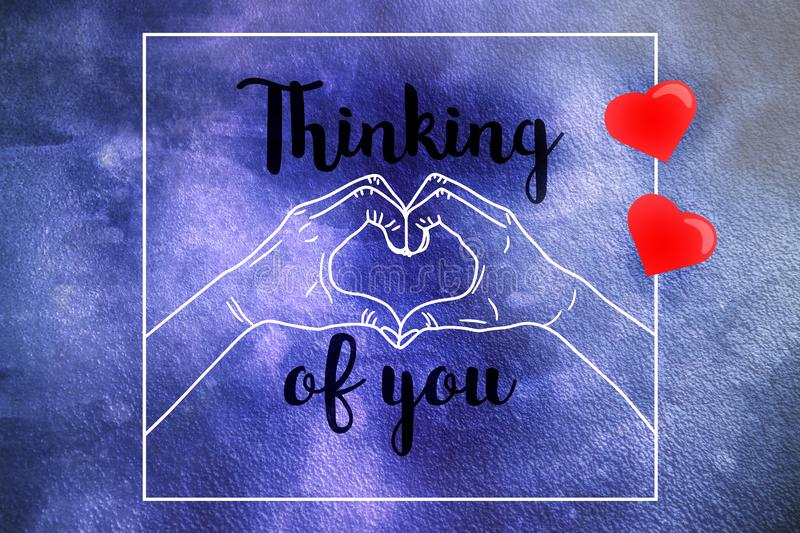 Thinking of you sketch illustration - female hands show heart royalty free stock images