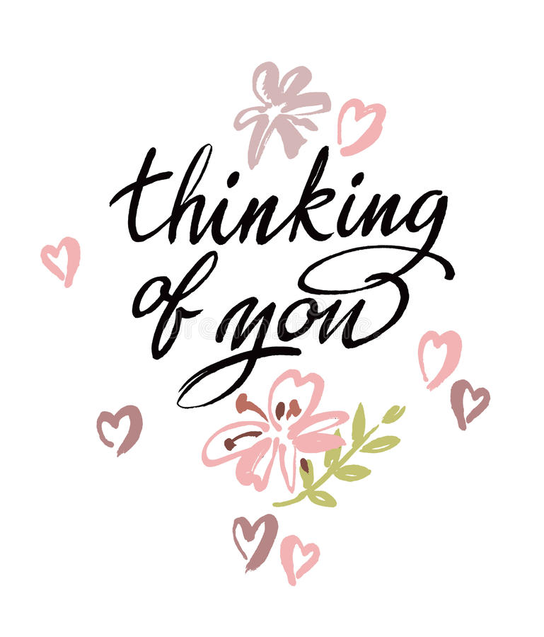 Thinking of you. Vector brush calligraphy stock illustration