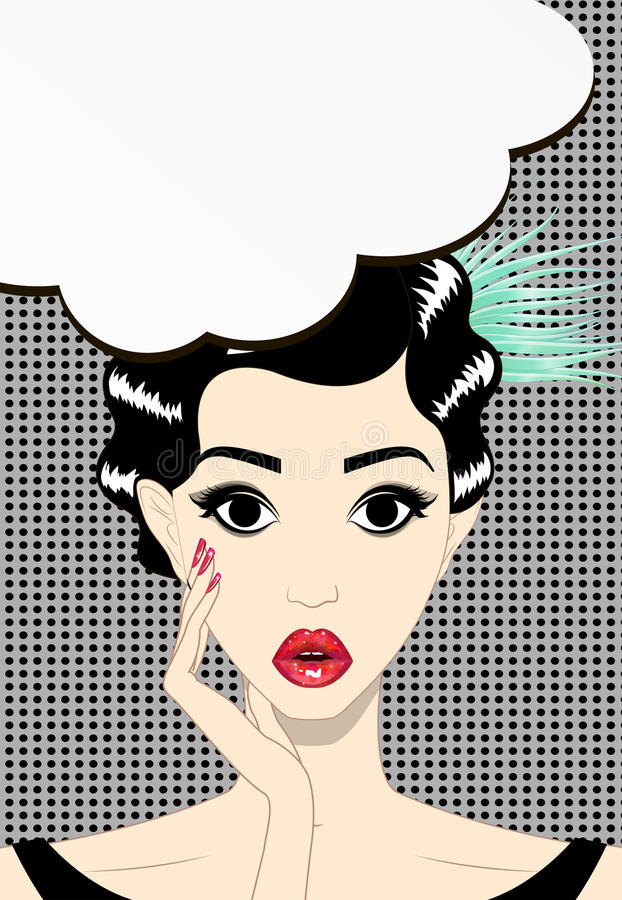 Thinking young brunette woman pop art, vector illustration stock illustration