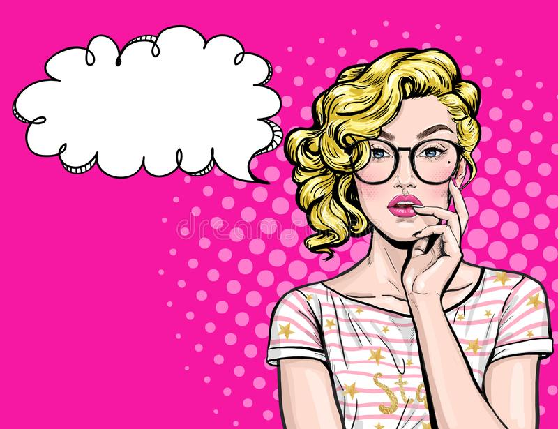 Thinking young woman with open mouth looking up on empty bubble.Pop Art girl is thought and holding hand near the face. Thinking young woman with open mouth stock illustration