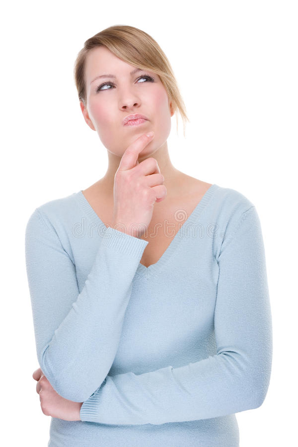Thinking young woman stock image