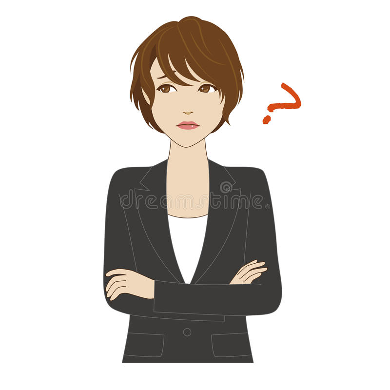 Thinking young woman in business suit stock illustration