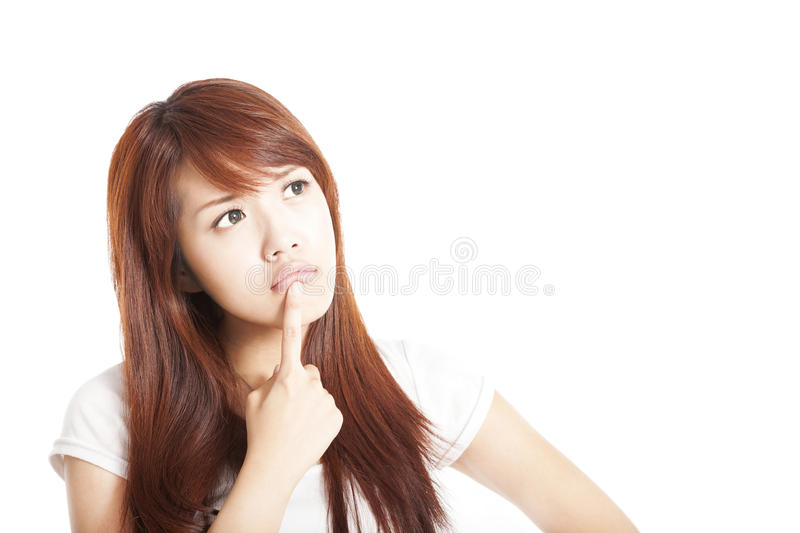 Download Thinking Young Woman Looking Up Stock Photo - Image of concentration, face: 27943436