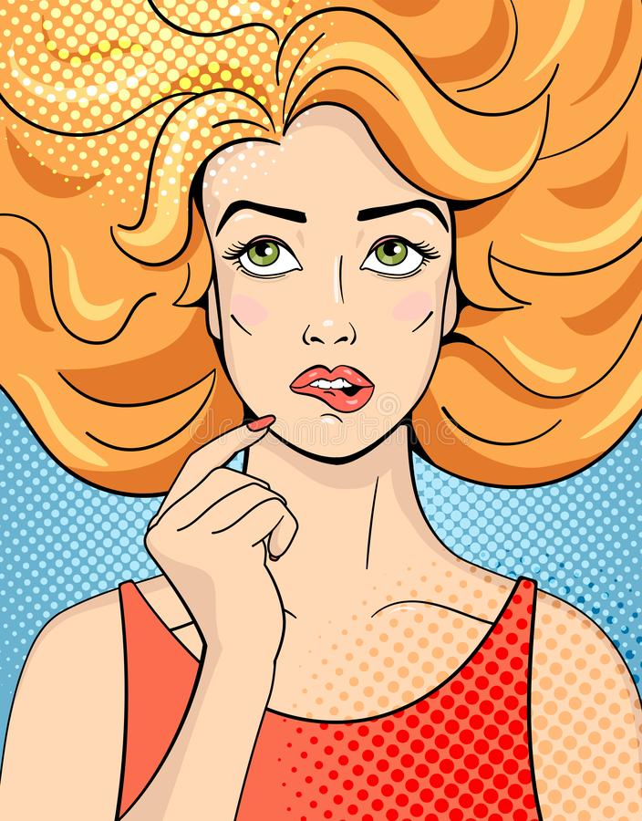 Thinking young woman looking up. Vector Illustration in comic style royalty free stock photography