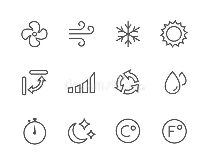 Thinline Air Conditioning Icons. Simple set of air conditioning related vector icons for your design royalty free illustration