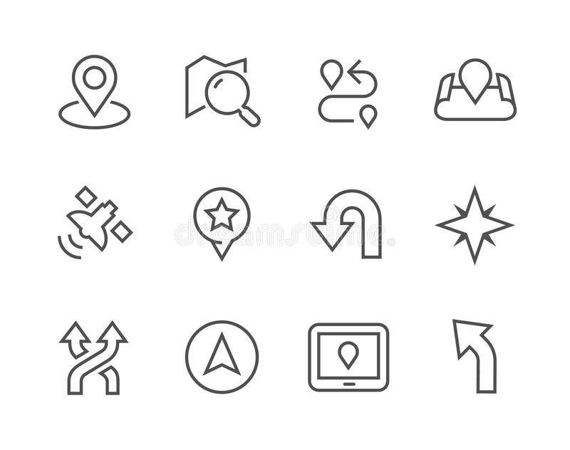 Thinline Navigation Icons. Simple Icons related to Navigation for you design stock illustration