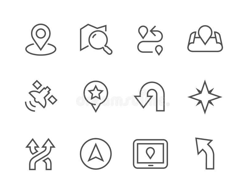 Thinline nawigaci ikony ilustracji