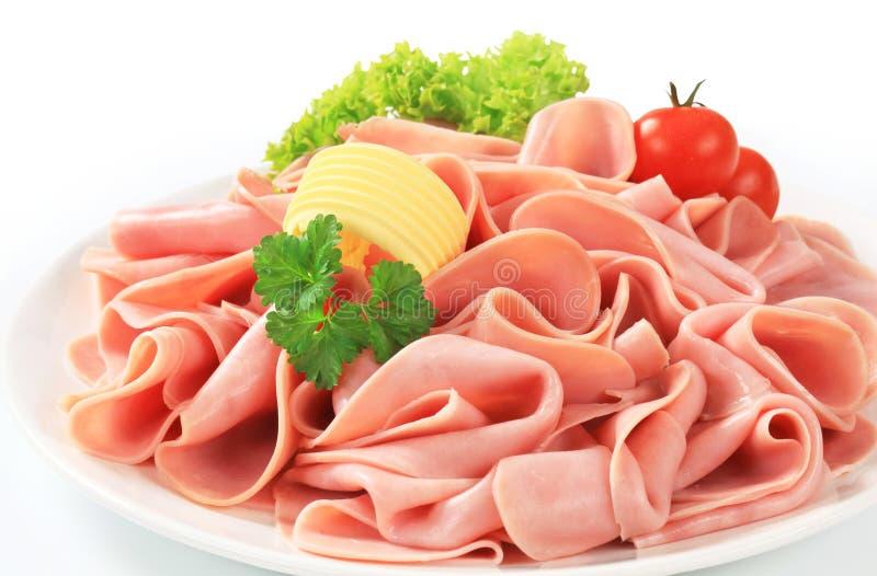 Thinly sliced ham stock image
